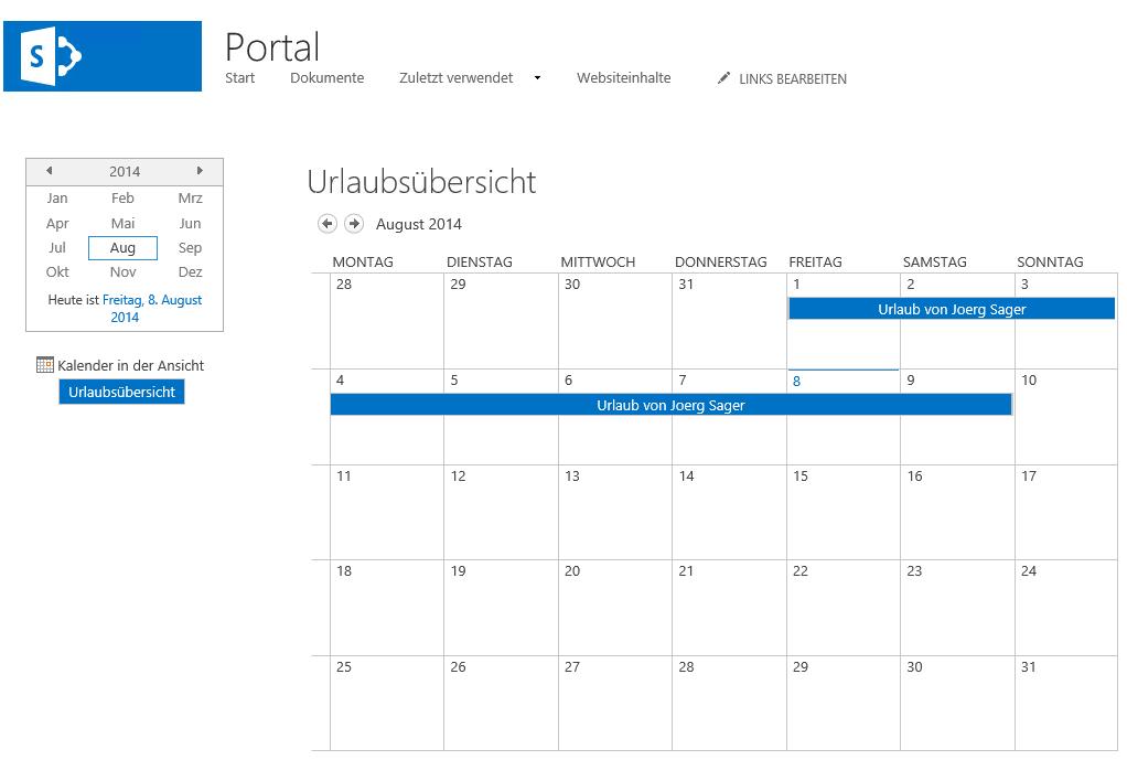 SharePoint Kalender