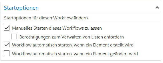 SharePoint Workflow Startoptionen