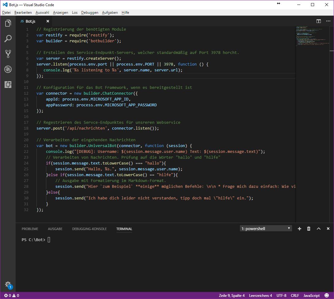 Microsoft Teams Bot Code