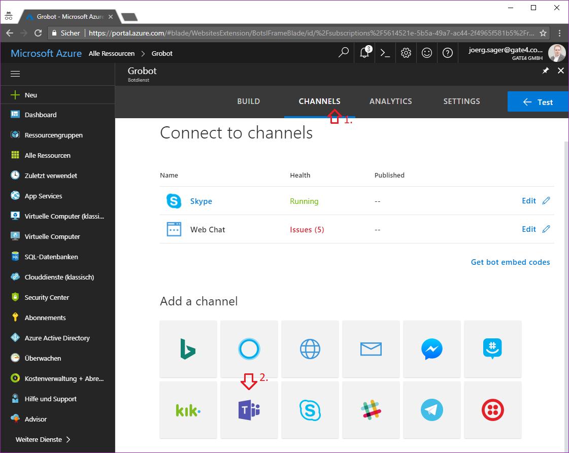 Azure Channels Teams
