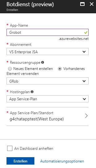 AzurePortal 2 Erstellformular