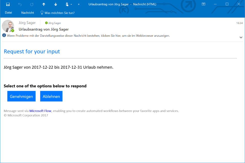 Microsoft Flow Email