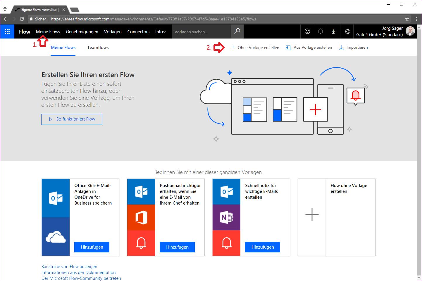 Microsoft Flow anlegen