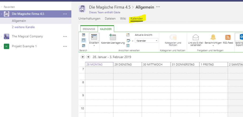 Kalender in Microsoft Teams